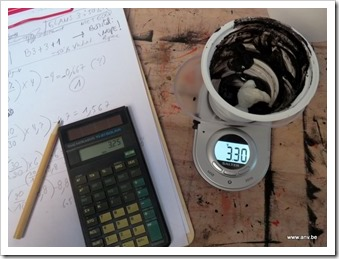photo calculation coal paint, with calculator, in AnV's art studio.