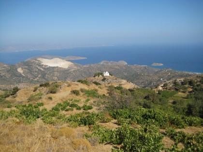 uitzicht op Mochlos vanaf de bergen boven Sfaka