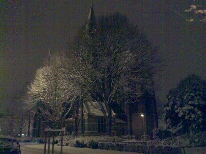 Kerk van Runkst, Hasselt, in de sneeuw