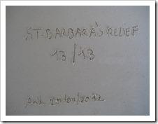 (foto van de achterkant, inscriptie  st-barbara's relief 13/13, AnV.)