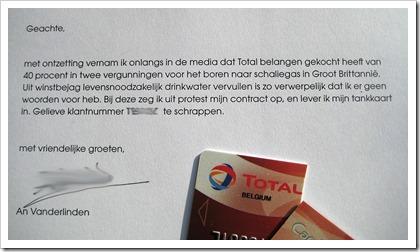 protest tegen schaliegas: opzegbrief tankkaart Total