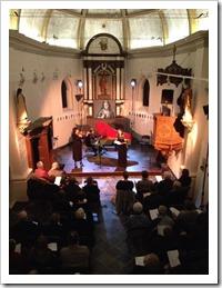 een combinatie van de tento St. Barbara van An Vanderlinden en het concert 'nocturne met Bach' gebracht door Geert Van Gele, Ellen Delahanty en Karin Gutsche - Kerkje van Laak