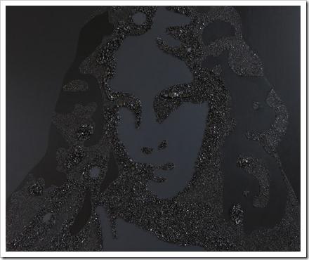 St.-Barbara (V6) acrylverf en steenkool op doek, 1m x 1m20 © An Vanderlinden