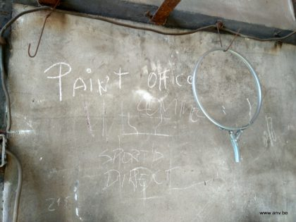 "Writing on the wall: ""Paint Office"""