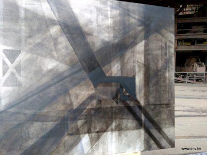 schilderij in opbouw, 6 april 2018, An Vanderlinden in Beringen Mijn