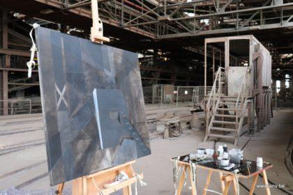 An Vnderlinden schilderij in opbouw tijdens Artist Residency week 4
