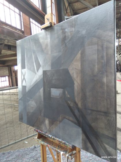 Painting in progress, artist An Vanderlinden