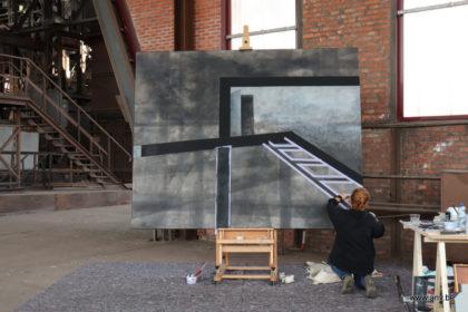 AnV werkend aan schilderij Charbon de Beringen 3
