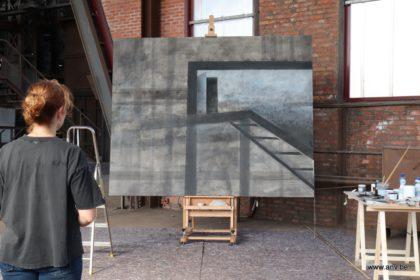schilderij An Vanderlinden in opbouw