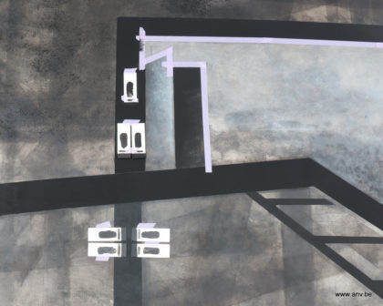 Schilderij CDB3 met steenkoolverf staaltjes op